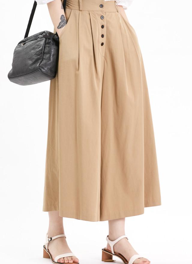 P0340伊娜排釦打摺寬褲(兩色)