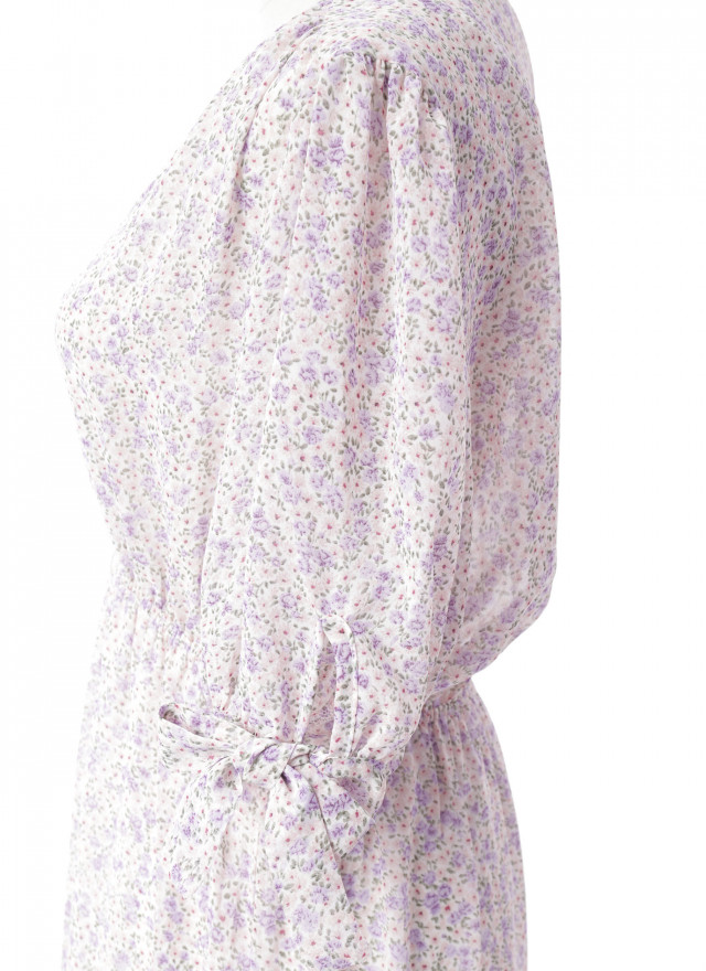 D1121粉莎綁帶層次洋裝