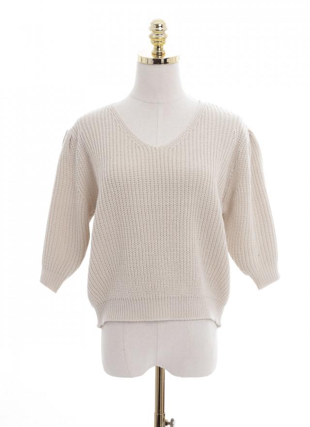 T1619花棉澎袖針織上衣(三色)