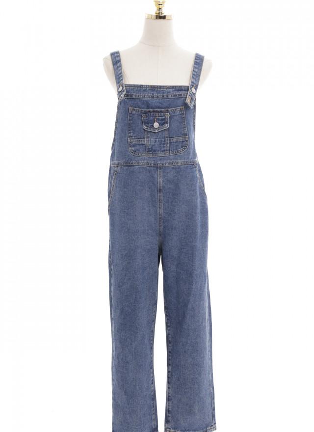 D1159雅莎丹寧口袋吊帶褲