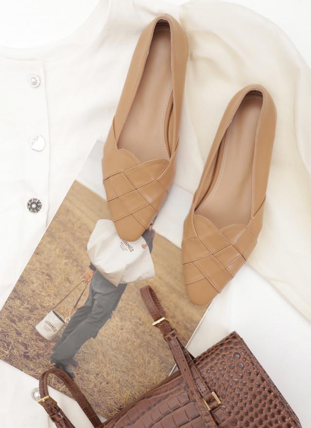 SH0235蕾雅圓弧編織尖頭鞋