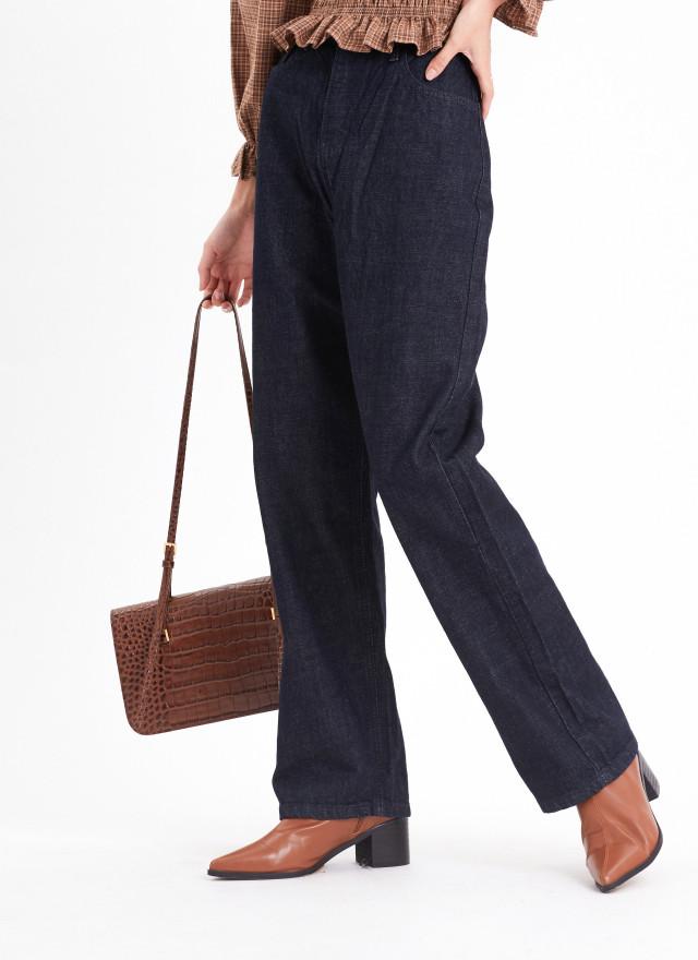 P0354倫絲寬版直筒原色褲