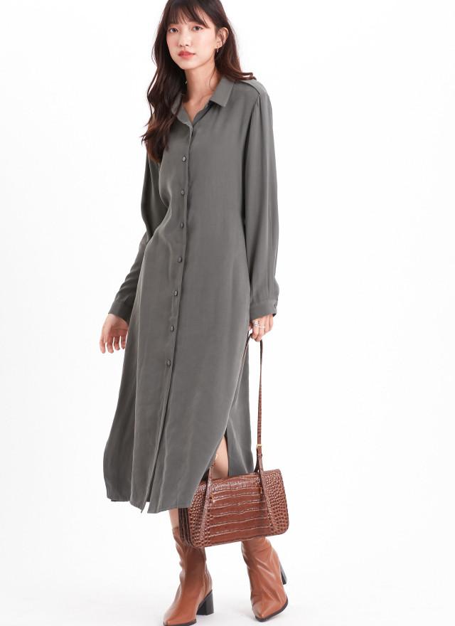 D1150海倫排釦綁帶洋裝(三色)