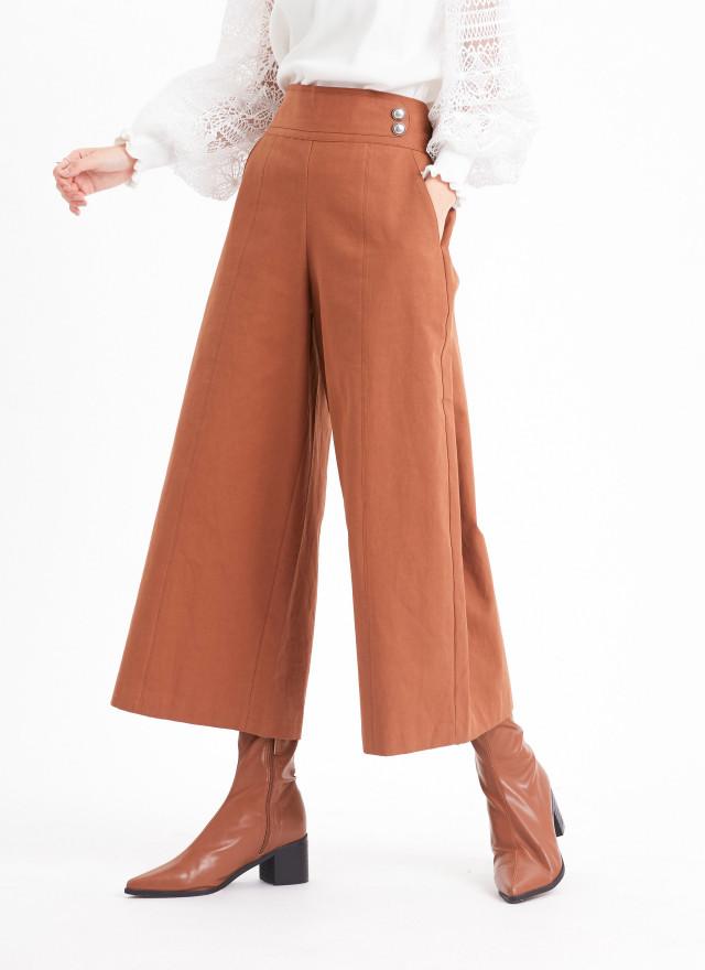 P0352奧瑪單邊釦飾寬褲