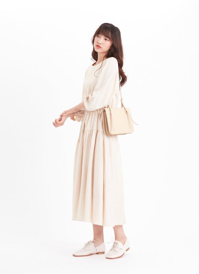 D1156萊珽霧光抽繩洋裝(兩色)