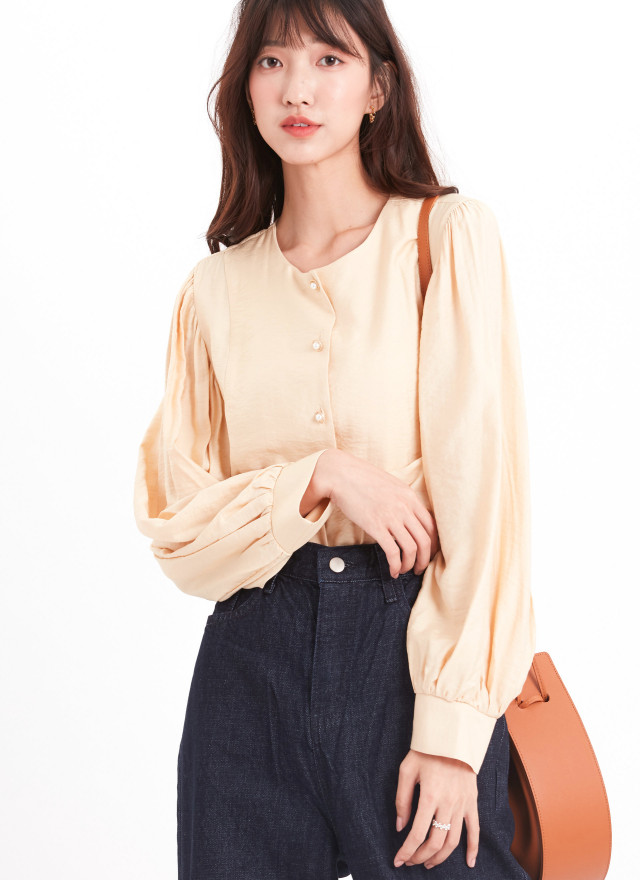 T1634凱麗珍珠澎袖上衣(兩色)