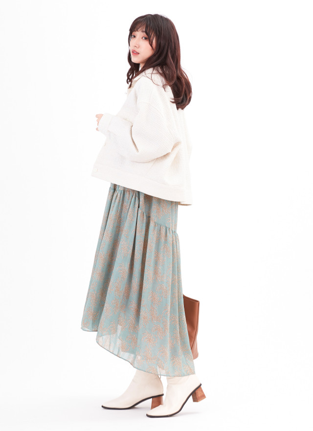 D1179理菈大V印花洋裝