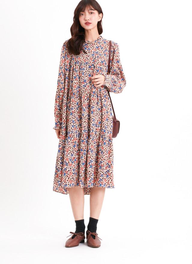 D1205仙芝絢彩印花洋裝
