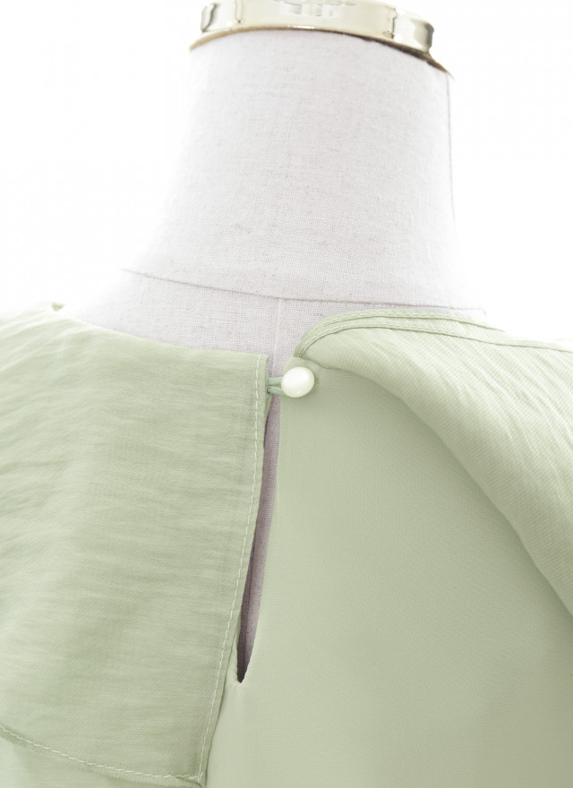 T1717薇風花領雪紡上衣(兩色)