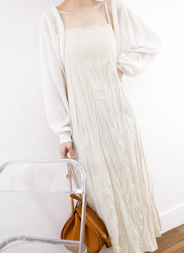 D1324倫妮細肩褶皺洋裝(兩色)