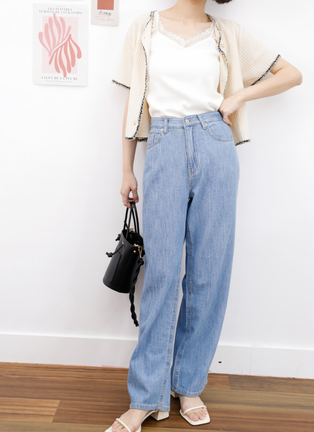 P0378卡蘿單寧軟料寬褲(兩色)