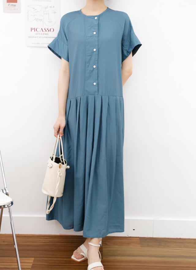 D1409凱慕百褶造型洋裝