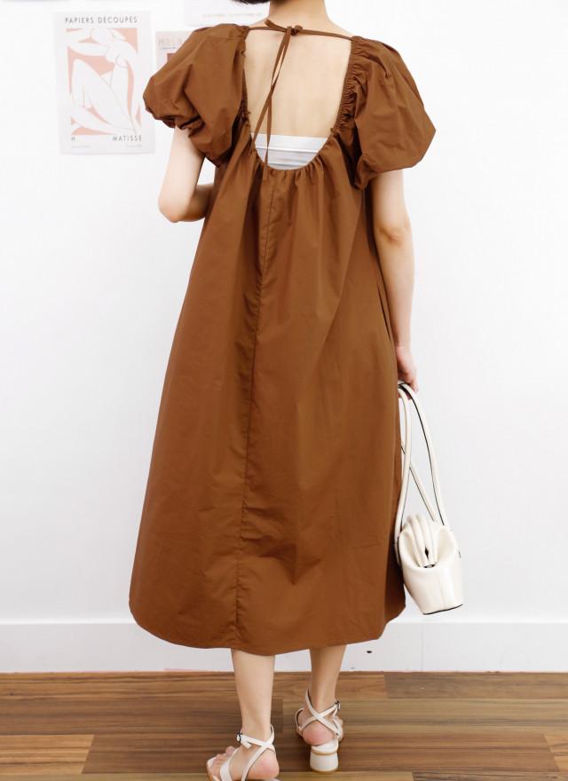 D1413法瑪方領澎袖洋裝