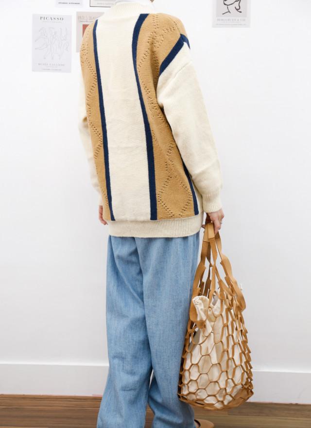 O0704雅麗撞色針織外套