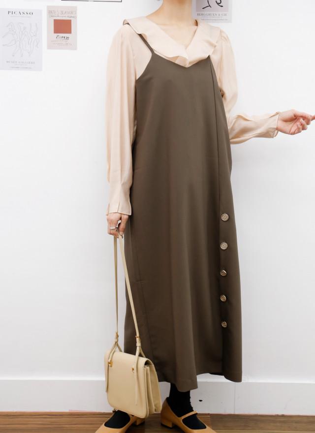 D1434柯蘿細肩釦飾洋裝(兩色)