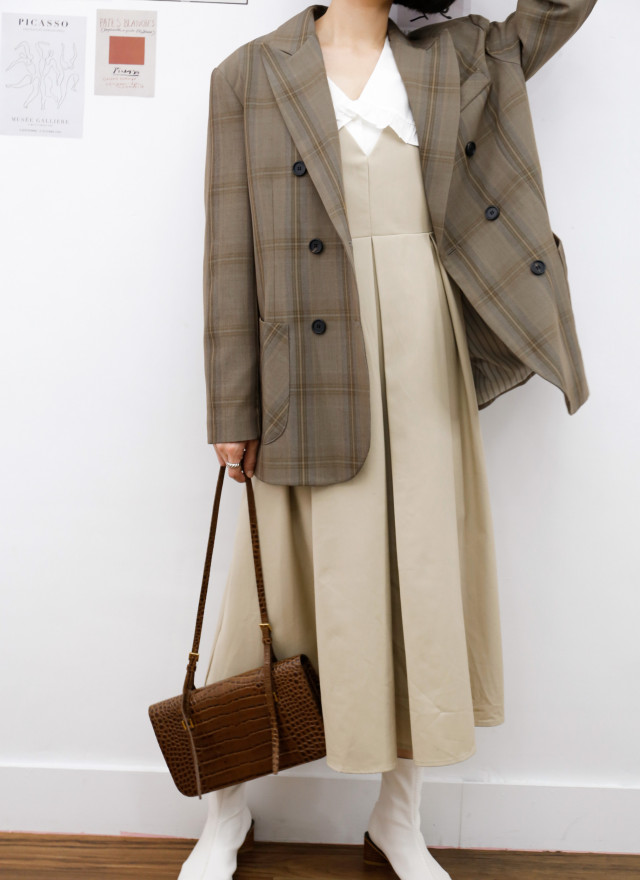 O0702琴恩格紋西裝外套(兩色)