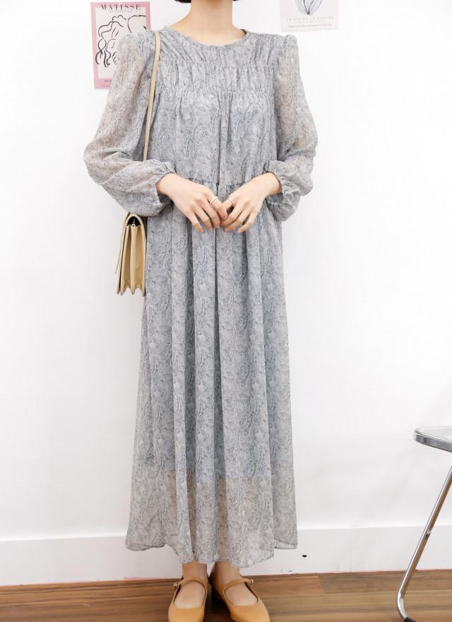 D1439安瑟抓摺圖騰洋裝(兩色)