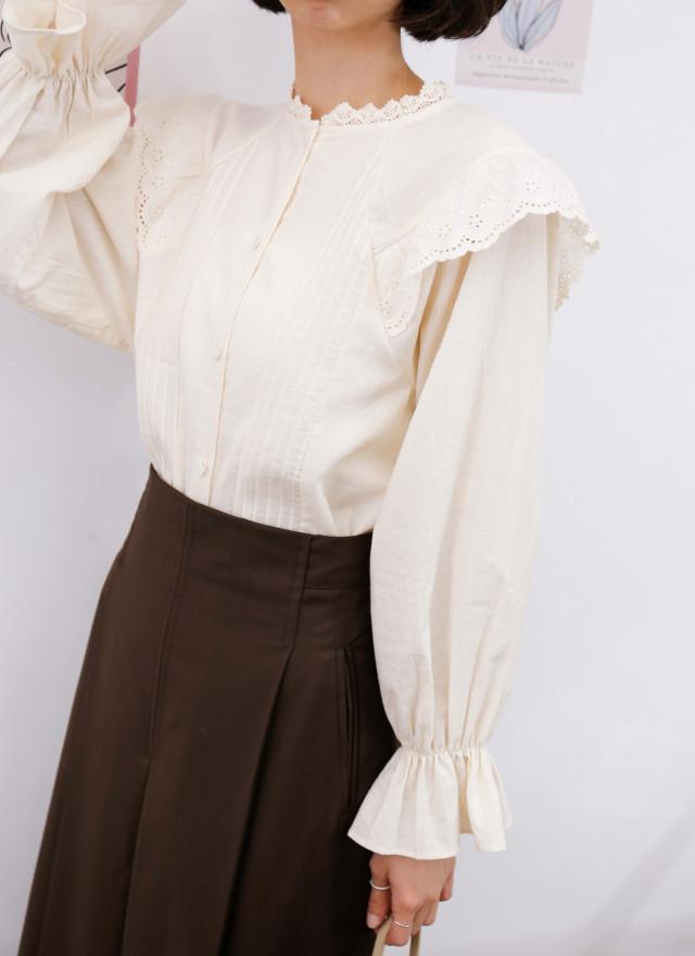 T1819露娜層次小領上衣