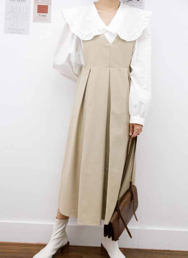 D1433薇莎寬摺背心洋裝(兩色)