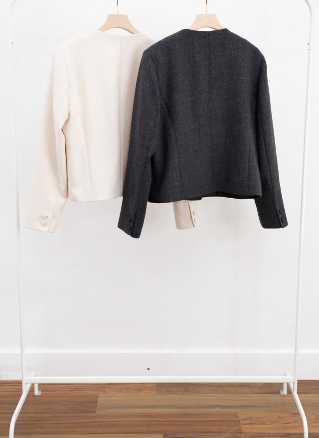 O0703曼蘿V領立體扣外套(兩色)