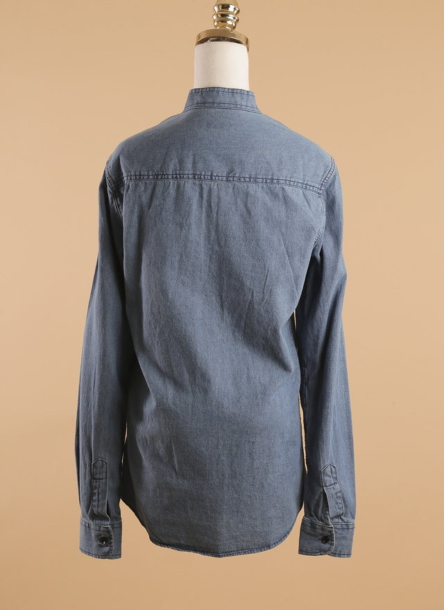 T0357 極簡無領雙口丹寧襯衫