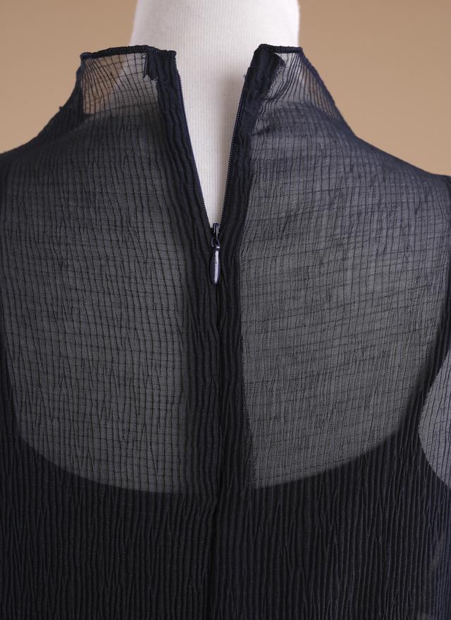 T0275 絲透直紋深藍上衣(附內搭)