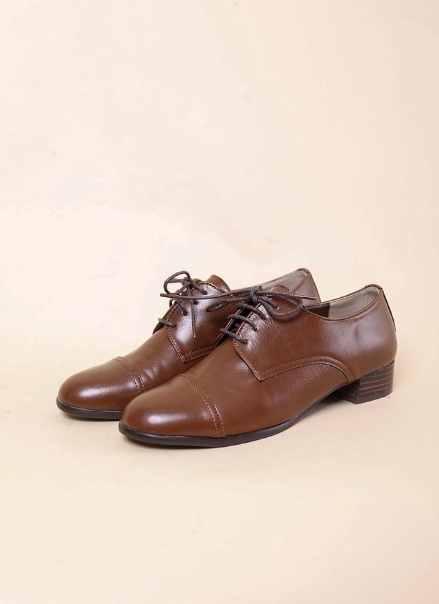 SH0074 經典皮革牛津矮跟鞋