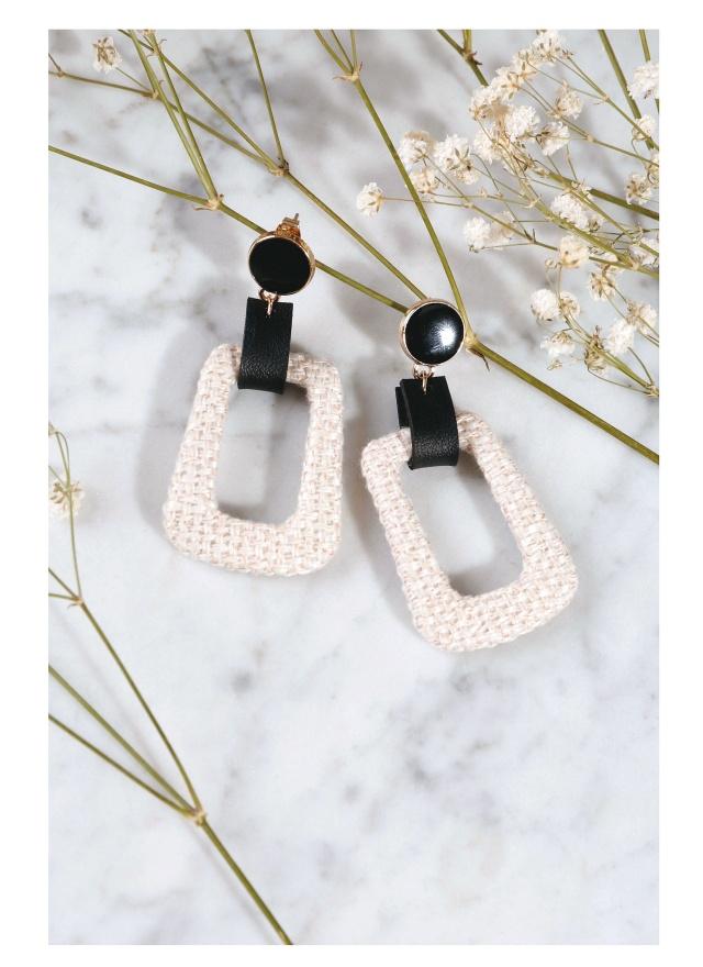 A0214 編織女伶耳針式耳環