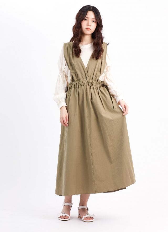 D1071妮莎V領綁帶洋裝