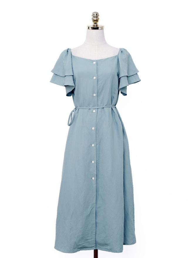 D0655 恬靜挖領公主袖洋裝