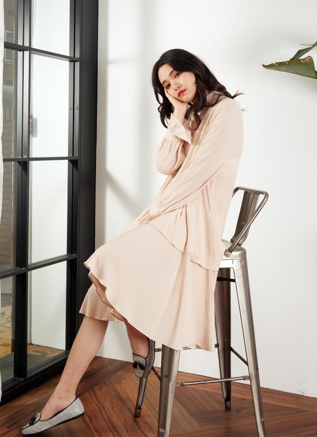 D0595甜蜜花領雪紡層次洋裝(特惠)