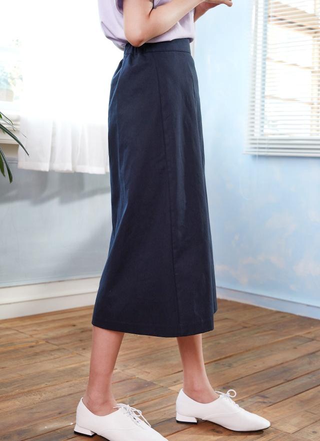 S0537 海軍藍側排釦中長裙