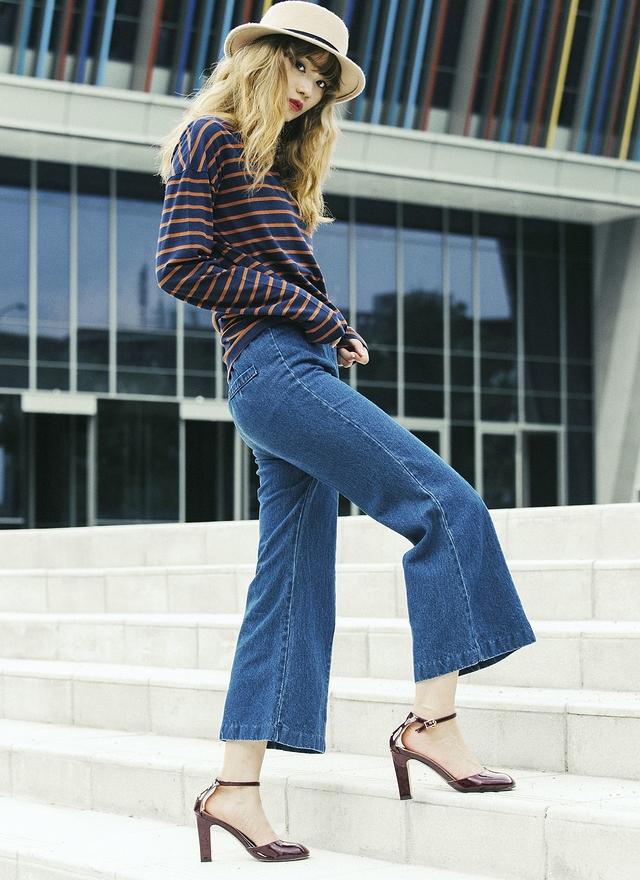 P0138 率性單寧鬆緊寬褲