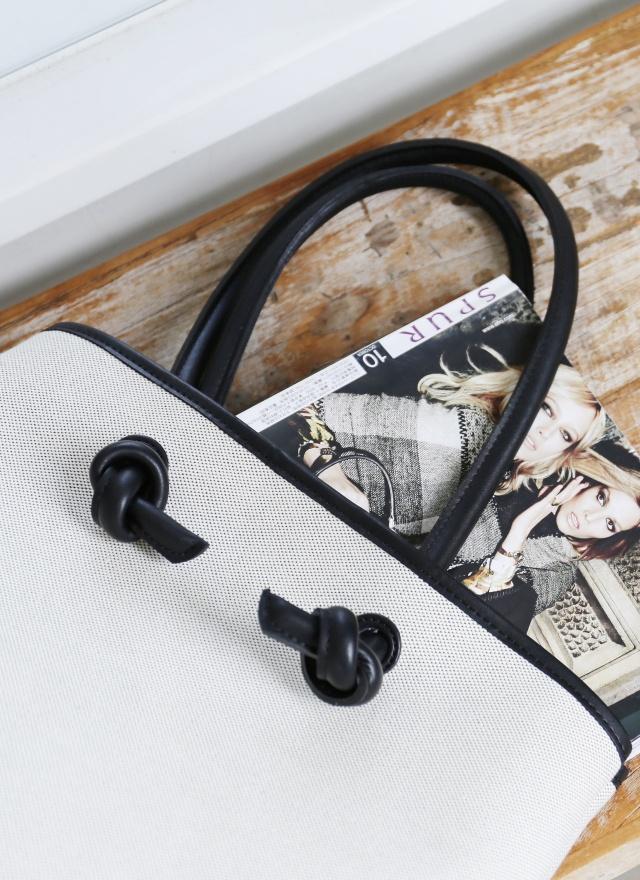 BA0120 氣質皮革麻料托特包