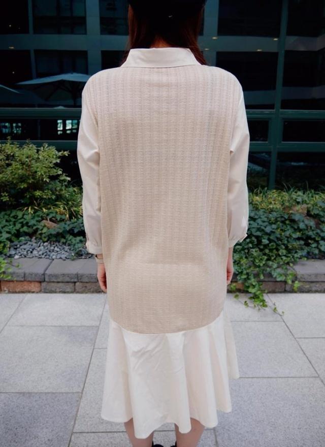 異材質連身拼接洋裝
