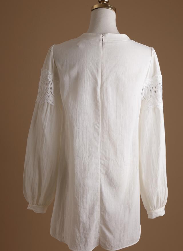 T0352 宮廷感雕花襯衫