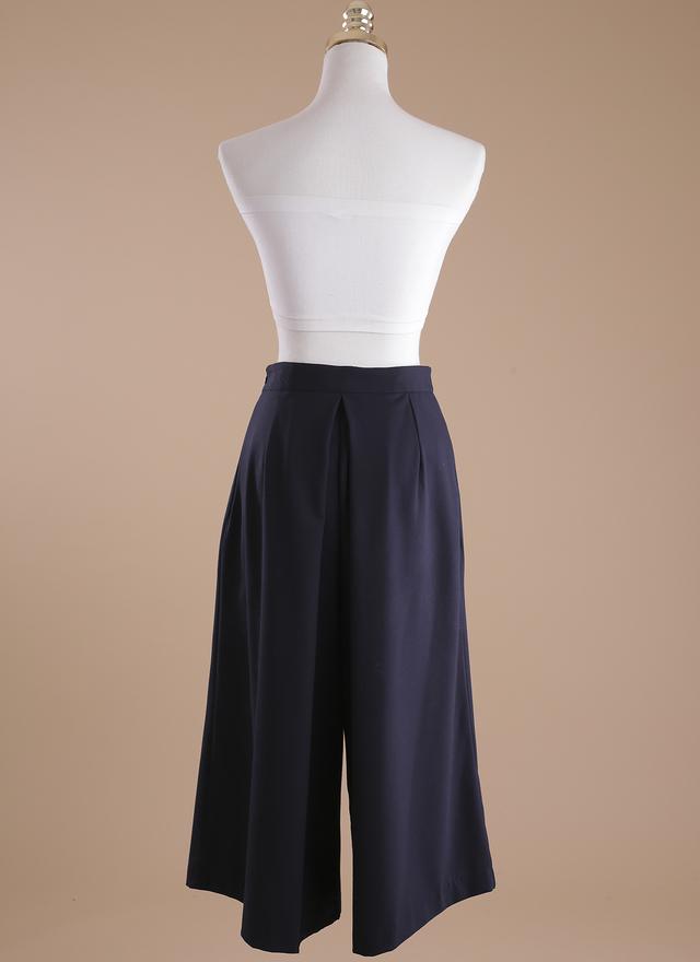 P0104 仕女質感深藍寬片褲裙