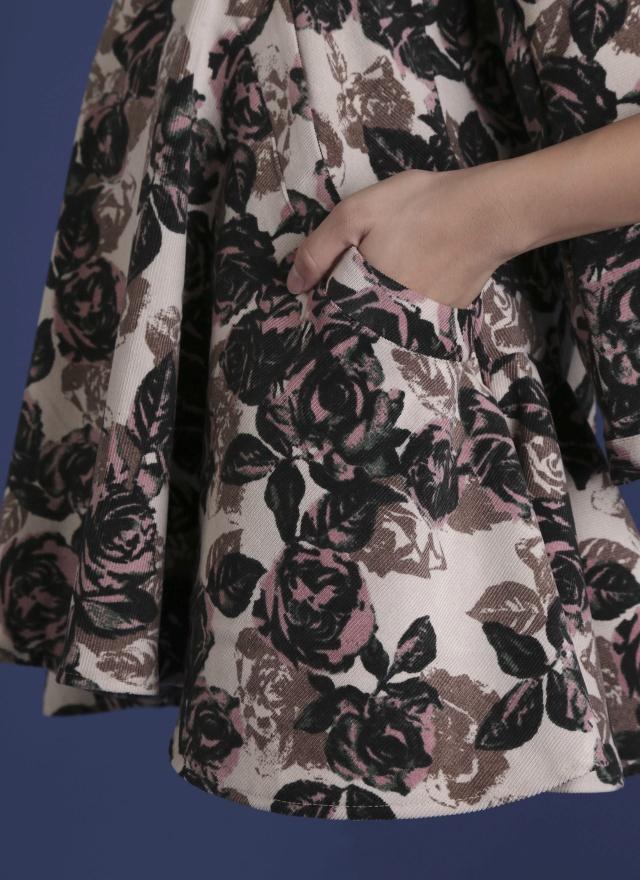 D0272 粉彩玫瑰口袋洋裝