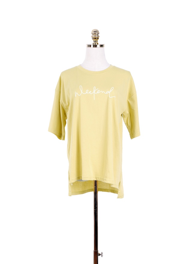 T0971 潦草字母圓領上衣 (兩色)