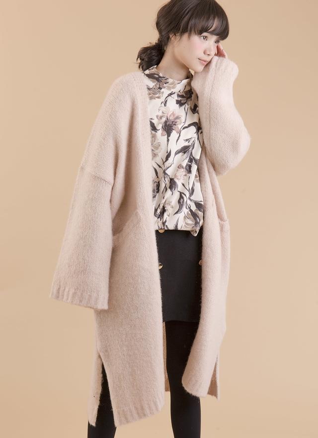 O0138 簡約抒情羊毛長針勾外套