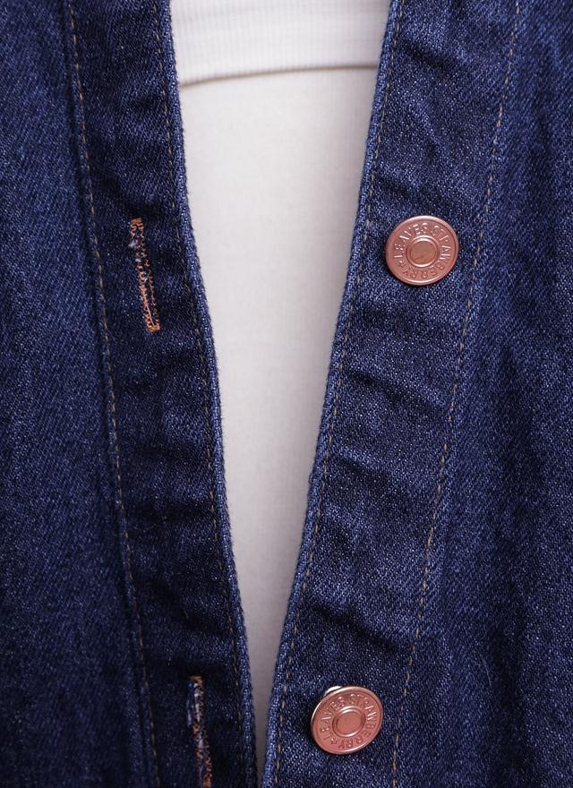 O0144 口袋無領牛仔外套