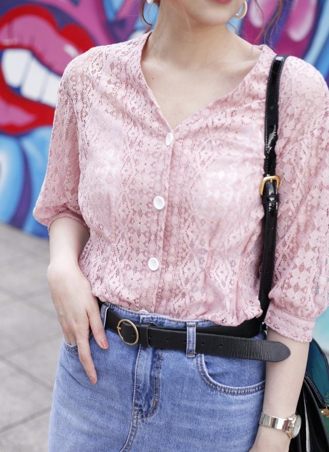 T1030 花朵蕾絲排釦襯衫 (兩色)