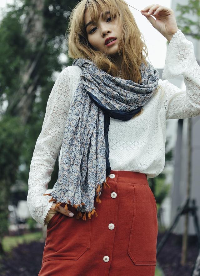 A0106 日系風格印花絲巾