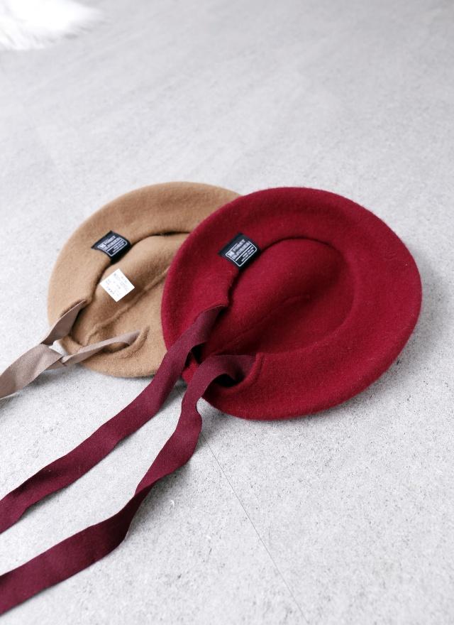 A0234 羊毛緞帶貝蕾帽