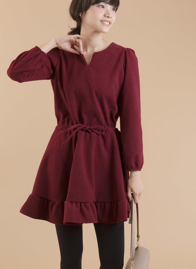 D0293 紅酒色暈花擺洋裝
