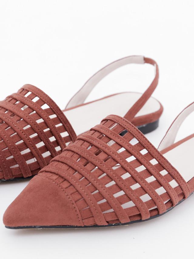 SH0207秋日棕紅簍空涼鞋