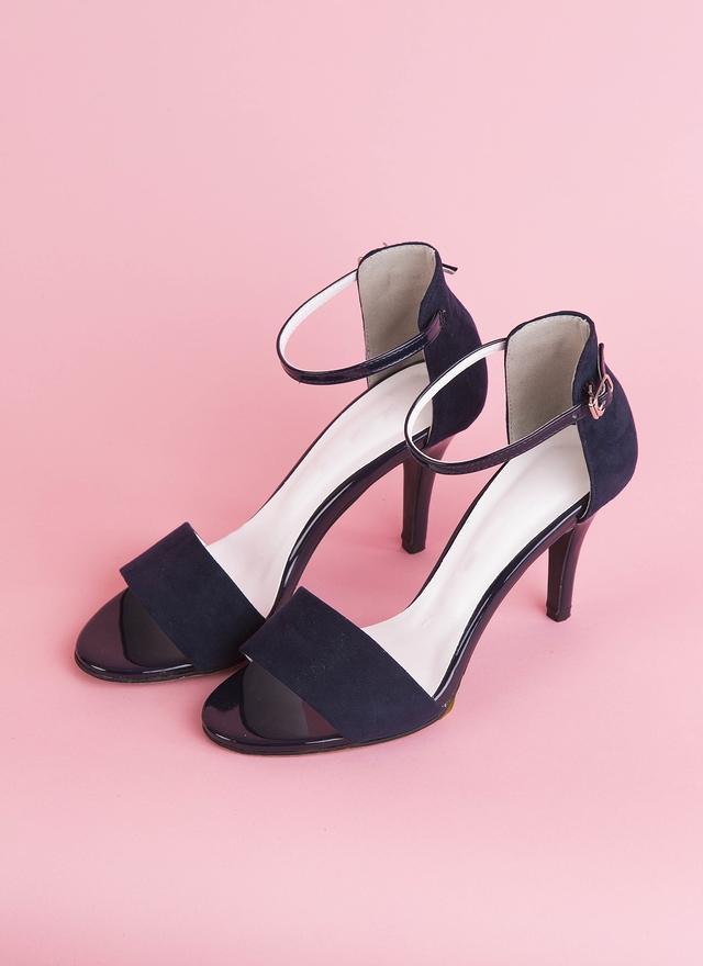 SH0054 深藍絨質細跟鞋