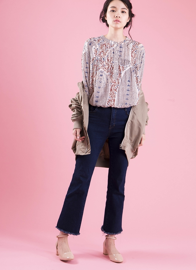 T0420 絲質印花造型襯衫