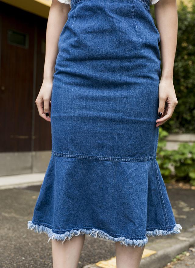 D0235 丹寧魚尾吊帶裙