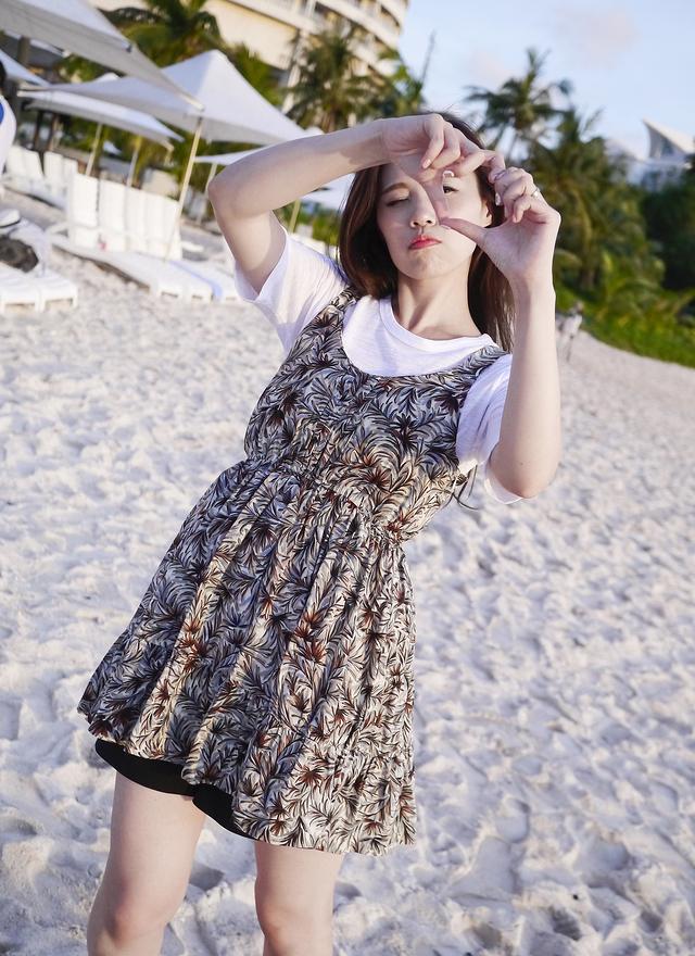 D0246 熱帶魅力彩繪細肩洋裝